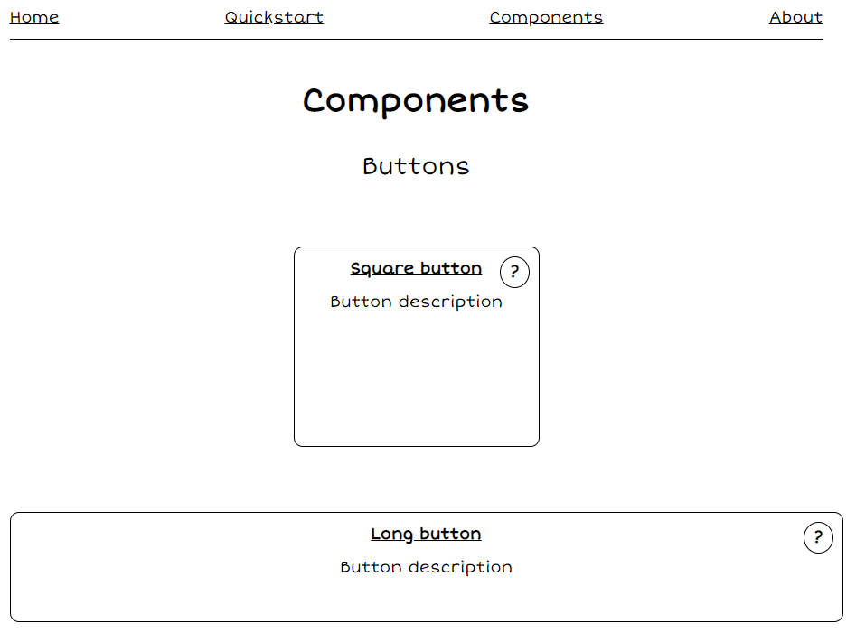 Screenshot of the components page